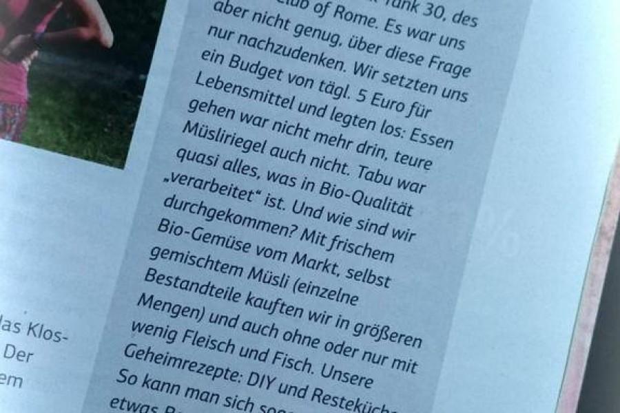 Anna und Santa zu  #BioOnABudget in der Juni Ausgabe von SchrotundKorn ……